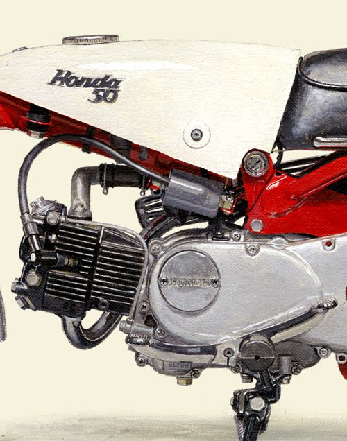Japanese Motorcycle A2-sized Collectors' edition print - 1961 HONDA Monkey Z100 - Seevert Works online