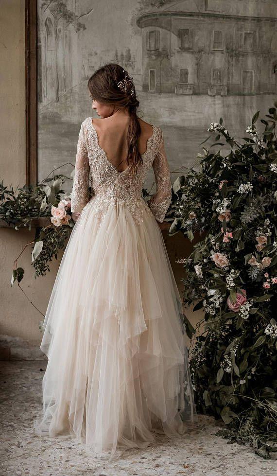 ce6b913d6e55a SAMPLE SALE Champagne bohemian wedding dress, boho wedding dress ...