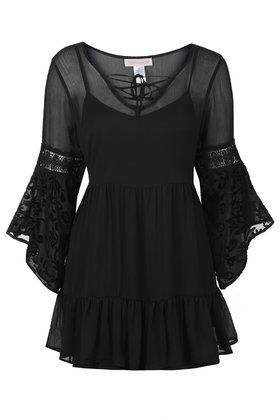Chiffon Bell Sleeve Dress by Band of Gypsies Topshop Bohemian Chic