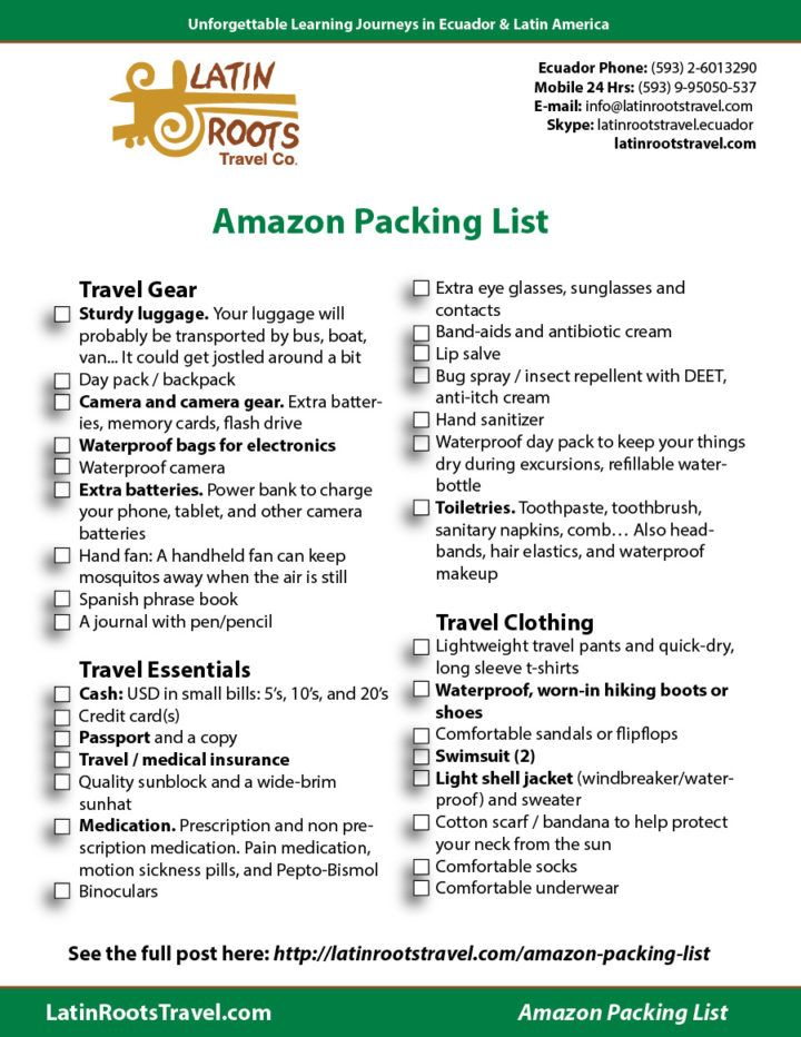 Free Packing List For Amazon Rainforest Trip Downloadable