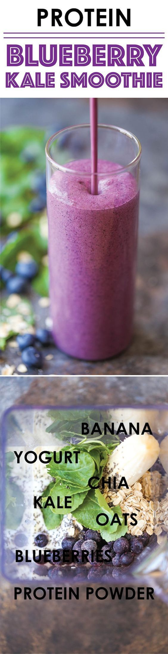 Protein Blueberry Kale Smoothie - A protein-packed healthy yet equally tasty breakfast that can be made in just 5 min! And you won't even taste the kale!