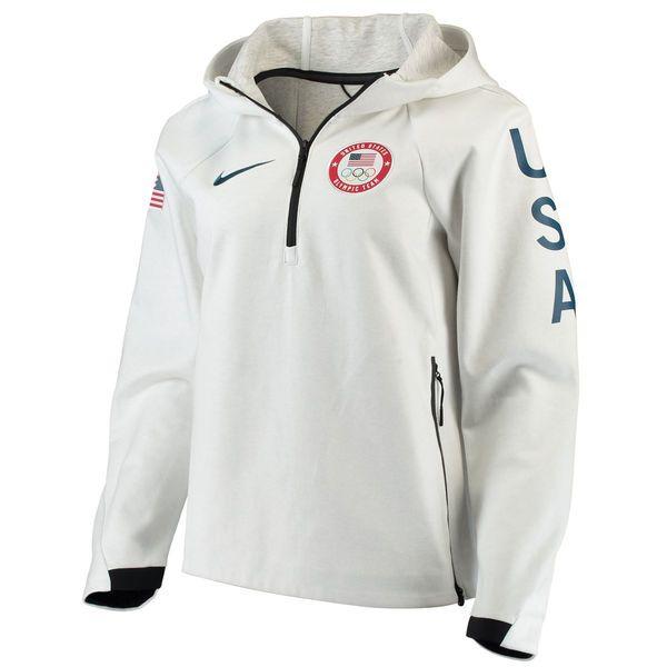 Women's Nike White Team USA Tech Fleece Performance Quarter
