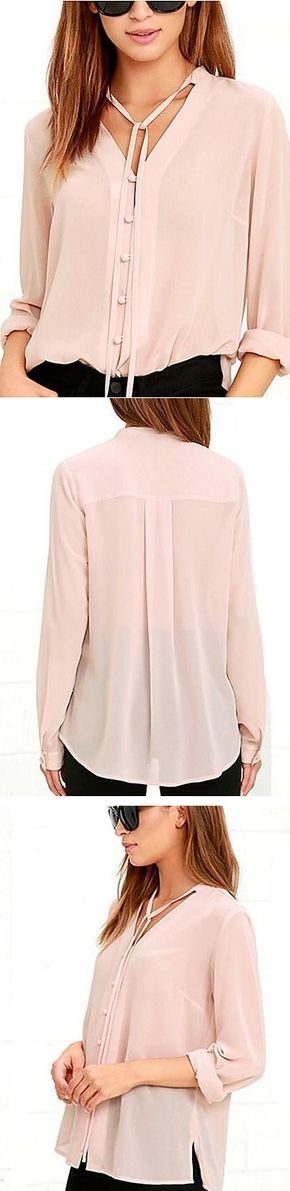 Loving the V neckline detail from this blushing pink blouse! Repin if you like it too! Available for €11.27 Click or tap the image for shopping!