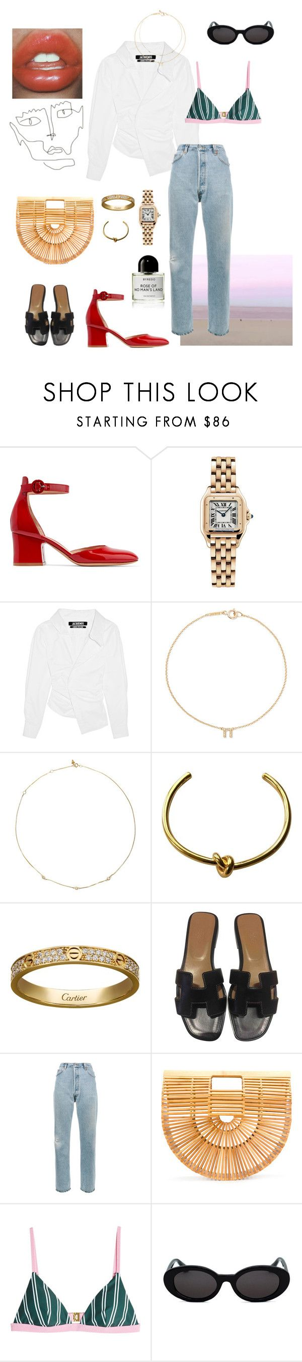 """Blue jeans, White shirt..."" by vera-e-ekdahl on Polyvore featuring Gianvito Rossi, Cartier, Jacquemus, Jennifer Meyer Jewelry, Loren Stewart, CÉLINE, Hermès, Byredo, RE/DONE and Cult Gaia"
