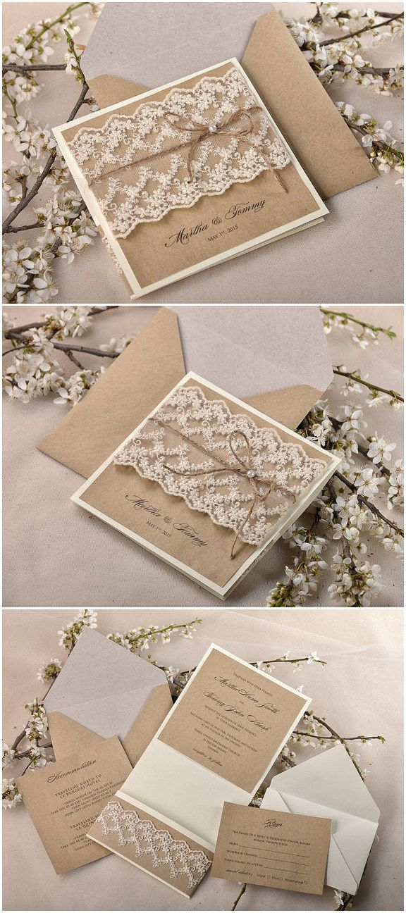 shabby chic lace and burlap rustic wedding invitation suite