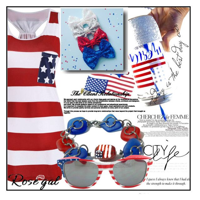 """WIN $20 CASH - Rosegal - Racerback Bowknot American Flag T Shirt Dress"" by aida-ida ❤ liked on Polyvore featuring La Femme"