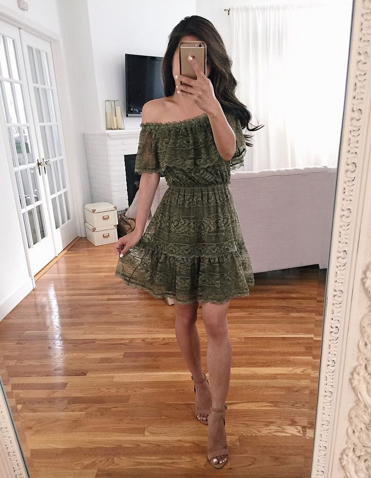 olive green lace dress review // summer wedding guest outfit ideas