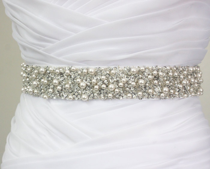 MONACO - Luxe Bridal Couture Crystal Pearls Encrusted Bridal Sash, Wedding Beaded Sash Belt. $195.00, via Etsy.