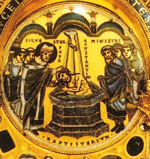 Sylvester Paus - Silvester doopt keizer Constantijn. ca 1150, goudsmeedwerk Heilig Kruis reliekhouder. USA, New Yprk, Morgan Pierpont Library.