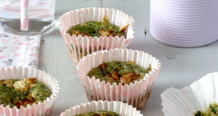 Lekker recept voor een gezonde borrelhap, hartige muffins met spinazie en geitenkaas.