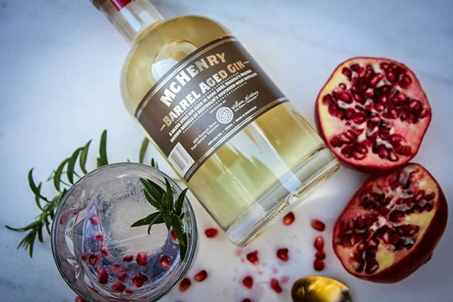 McHenry Distillery Barrel Aged Gin. Pomegranate and Rosemary and @capisparkling tonic. #gin #distillery #distilledintasmania #craftdistillery #barrel #barrelaged #cocktail #ginittowinit #ginnerarewinners