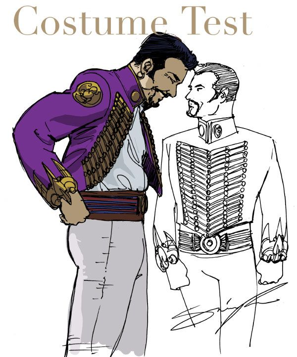 Simon's first sketch of the purple jacket. Note the cuffs and acute angle of the braiding (like the Raven Corps).