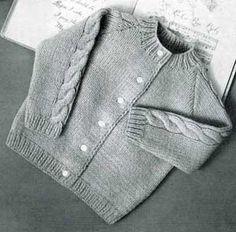 Knit Raglan Cardigan Sweater, sizes 1, 2 & 3   Free Knitting Patterns