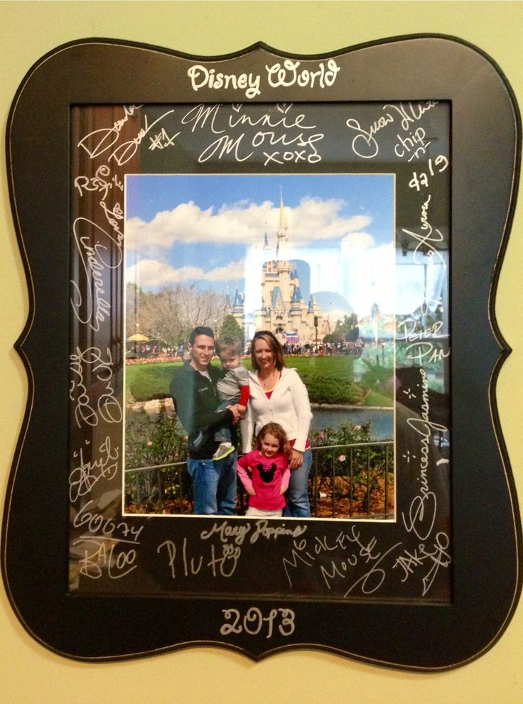 Our disney world souvenir!! Better than an autograph book ...@Melinda Flores that frame looks familiar! Im doing this for Josiahs room