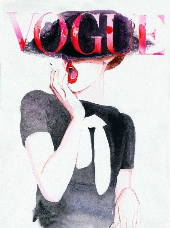 Vogue Cover Art Archival Prints Four sizes. by silverridgestudio