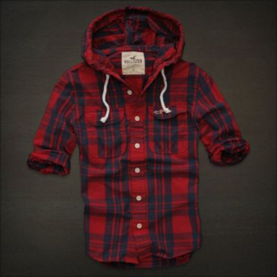NWT HOLLISTER ABERCROMBIE MEN Ventura Beach Red HOODIE PLAID SHIRT TOP S