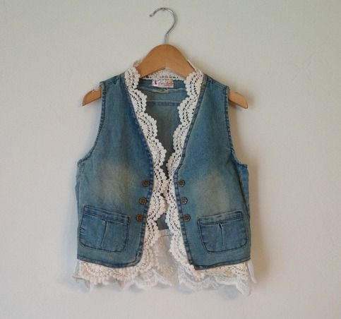 Little Missy Denim and Lace Vest from Cutey Patutey's Boutique