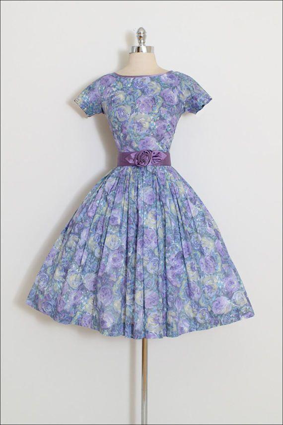 ➳ vintage 1950s dress * shades of purple and blue cotton * beautiful floral rose print * metal back zipper * detachable satin rosette belt condition | excellent fits like xs/s length 42 bodice 16 bust 36 waist 25-26 ➳ shop http://www.etsy.com/shop/millstreetvintage?ref=si_shop ➳ shop policies http://www.etsy.com/shop/millstreetvintage/policy twitter | MillStVintage facebook | millstreetvintage instagram | millstreetvintage 5507&#x...