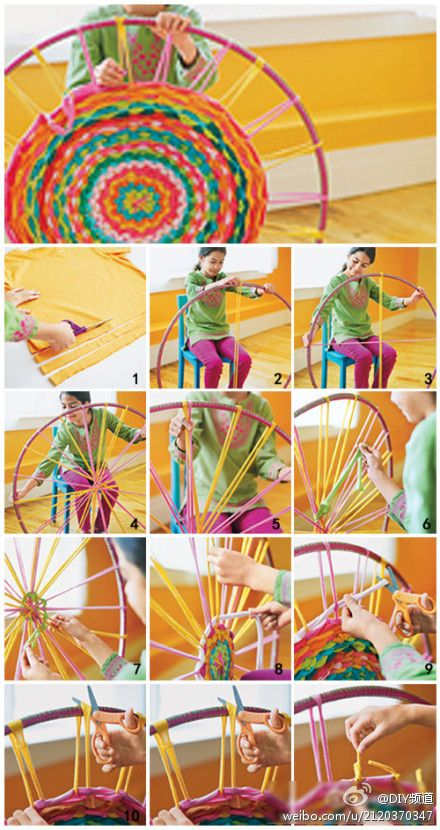 DIY Rug from old shirts using a hula hoop as a form.  How cool & I already have the hula hoop! :)