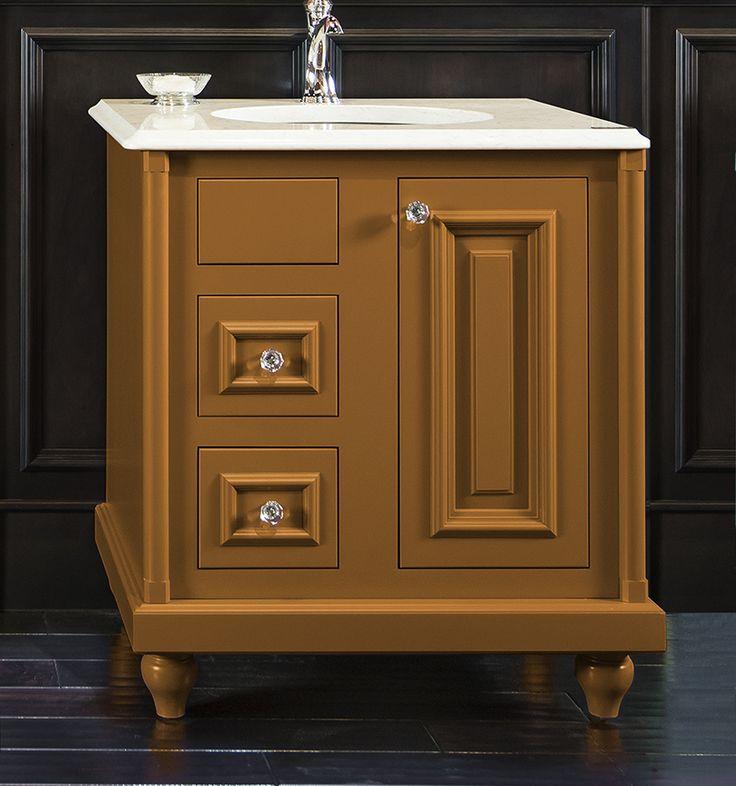 ColorInspire By Wellborn Cabinet In Gold Bathroom Vanity #Color #Cabinets  #Inspiration #JewelTones