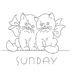 Pattern Detail | 2 Kittens - Sunday | Needlecrafter  Plus lots more fun vintage patterns at the site