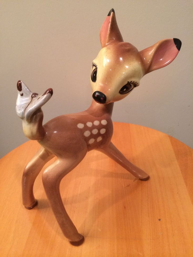 1940 S Disney Ceramic Bambi With Butterfly Tail Figurine