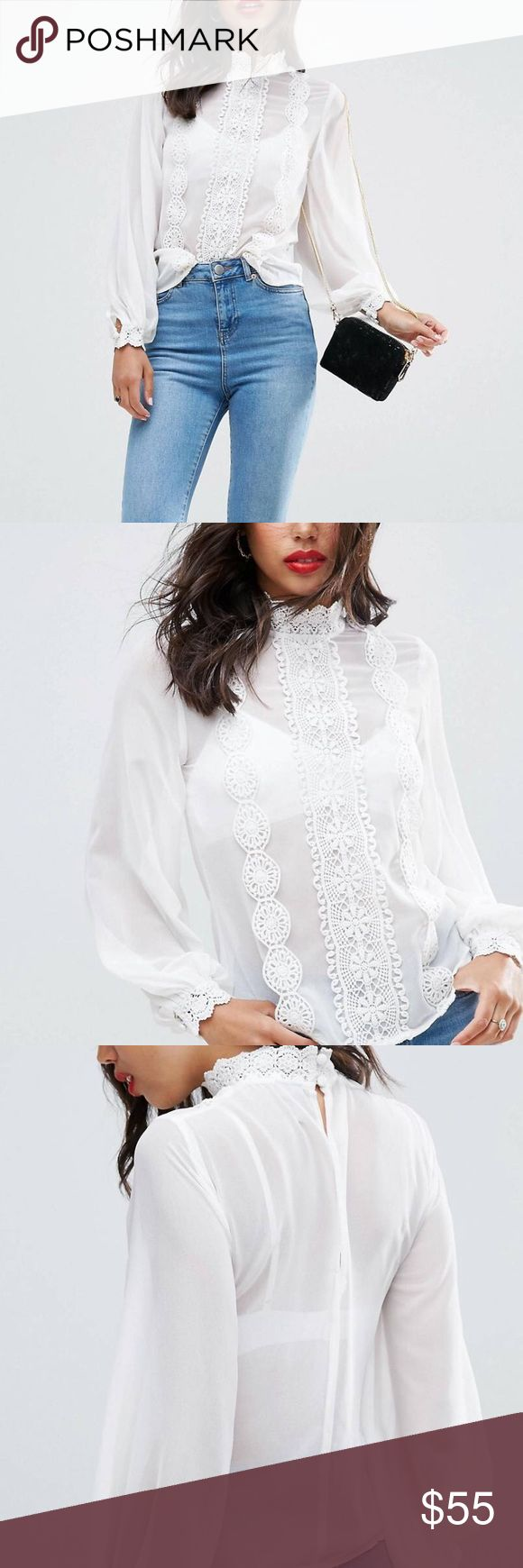 ASOS High Neck Sheer Blouse with Lace Trims Gorgeous White sheer blouse, perfect to wear casual or dress it up! ✨✨✨ ASOS Tops Blouses