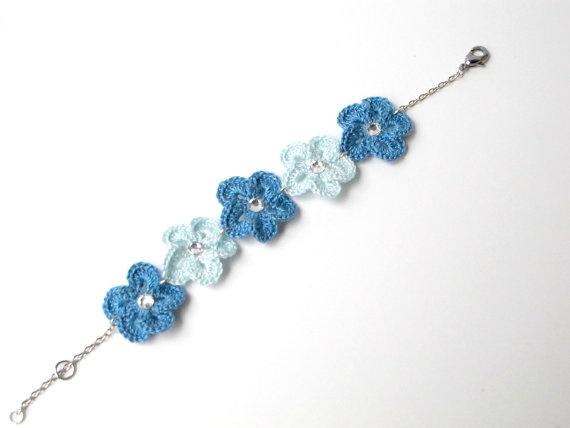 crocheted flower bracelet