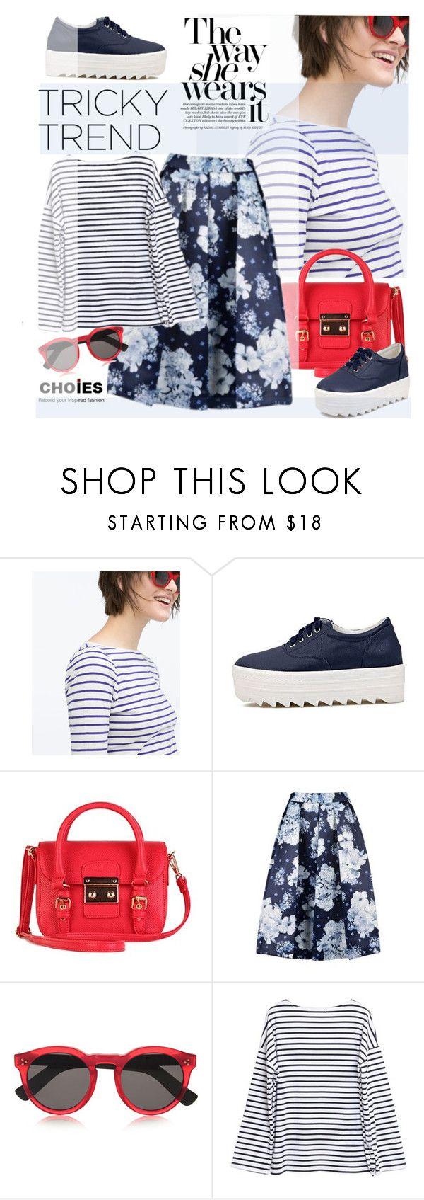 """""""Tricky Trend: Platform Sneakers"""" by ansev ❤ liked on Polyvore featuring Zara, Illesteva, Choies and platformsneakers"""