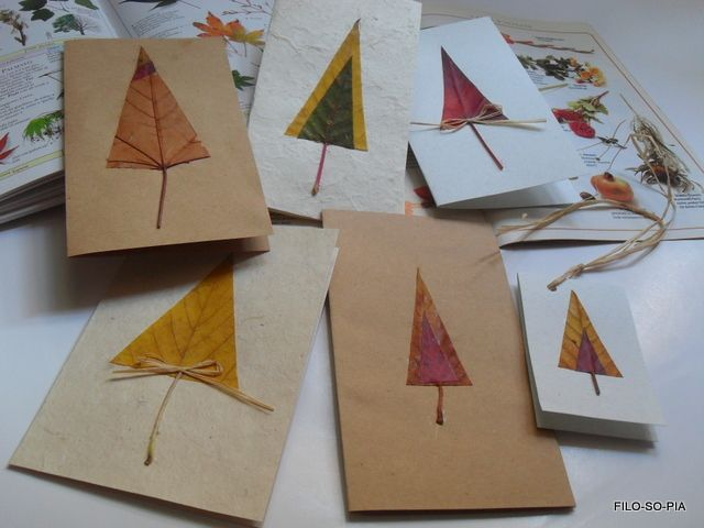 cards made from leaves