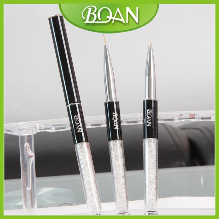 BQAN Newest Acrylic Handle with Rhinestone Nail Art Liner Brush 7mm 10pcs/lot