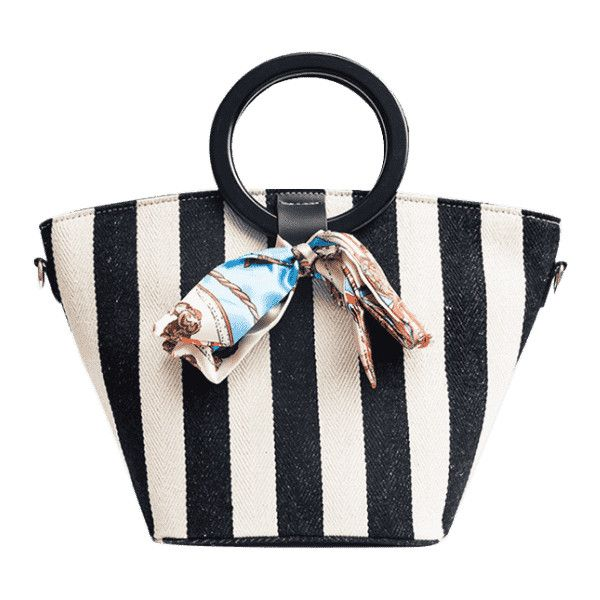 Color Block Scarf Striped Tote Bag Black ($22) ❤ liked on Polyvore featuring bags, handbags, tote bags, stripe purse, colorblock tote, shoulder hand bags, color block tote bag and shoulder handbags