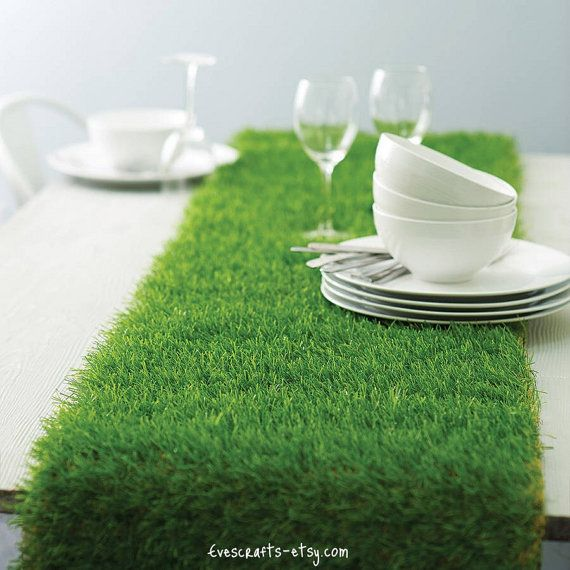 Artificial grass table runner mad hattter table by evescrafts