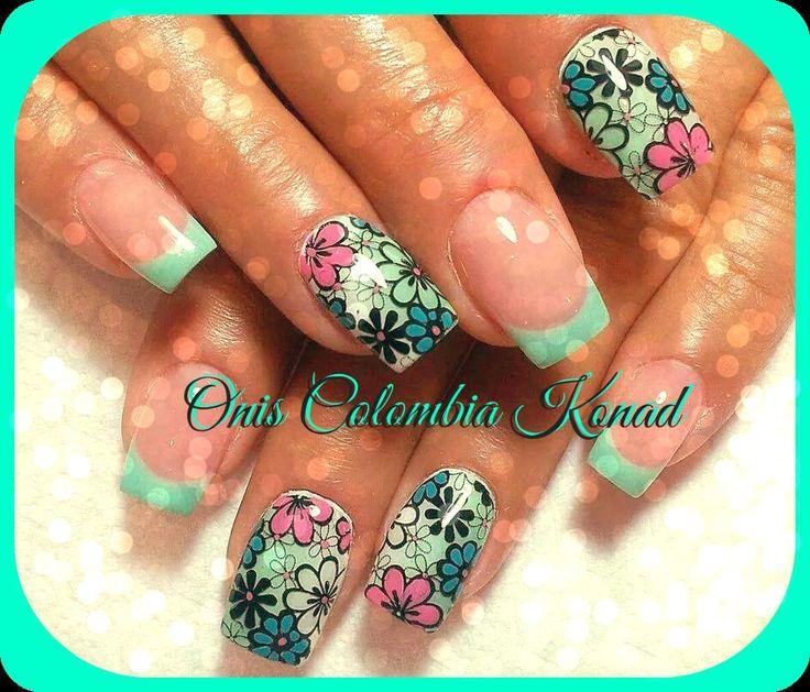 #nail #art #flores #konad