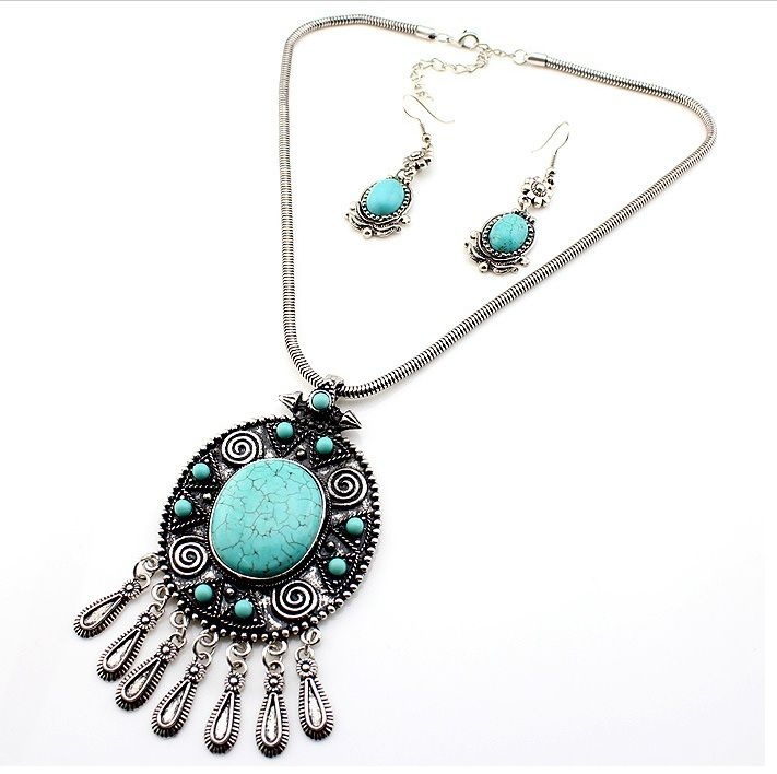 New Arrival Ethnic Tibetan Silver Plated Vintage FashionTurquoise Pendant Necklace Earrings Set Jewelry SetsSapphire jewelry set