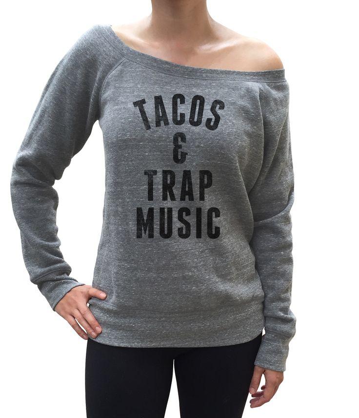 Women's Tacos and Trap Music Scoop Neck Fleece - Juniors Fit