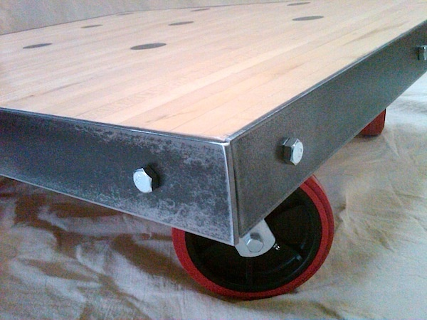 Salvaged Bowling Alley Floor Coffee Table W/ Red Casters.