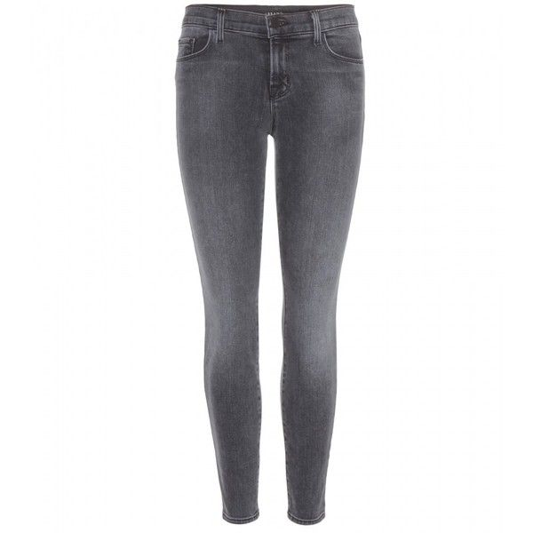 J Brand Low Rise Ankle Crop Jeans ($245) ❤ liked on Polyvore featuring jeans, pants, bottoms, calças, pantalones, grey, grey skinny jeans, low rise skinny jeans, cropped jeans and j brand jeans