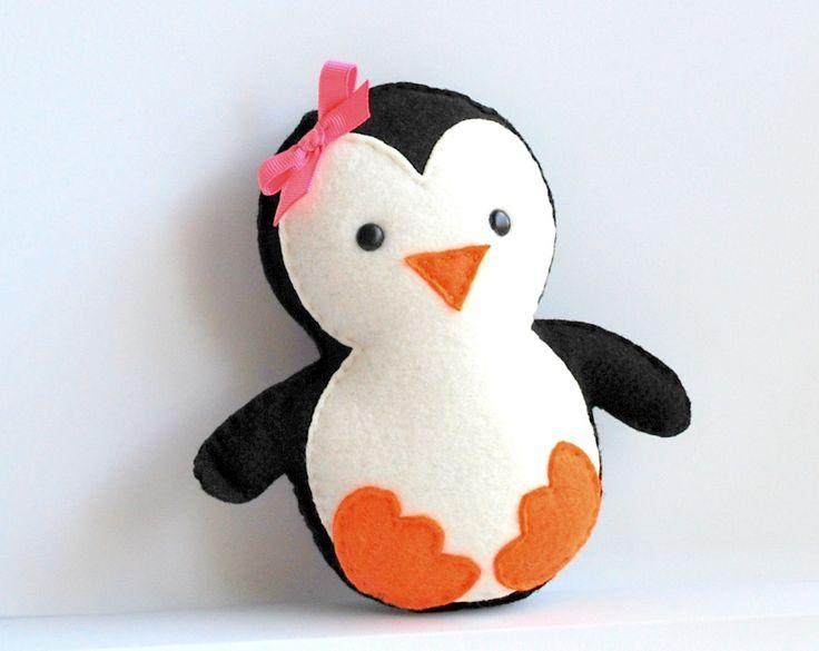 Baby Penguin Plush, adorable fleece/ felt baby plush, eco friendly toy $20,00, via Etsy.