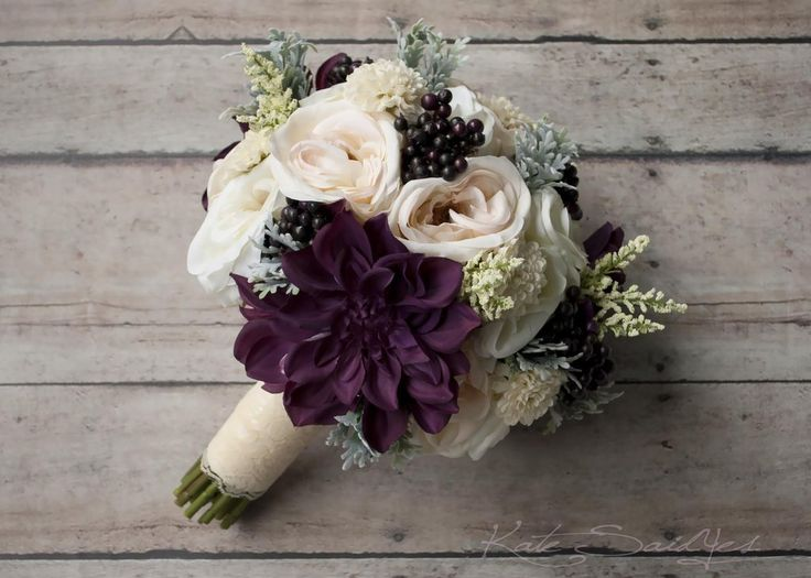 Rustic Bouquet - Blush Ivory and Plum Garden Rose and Dahlia Wedding Bouquet