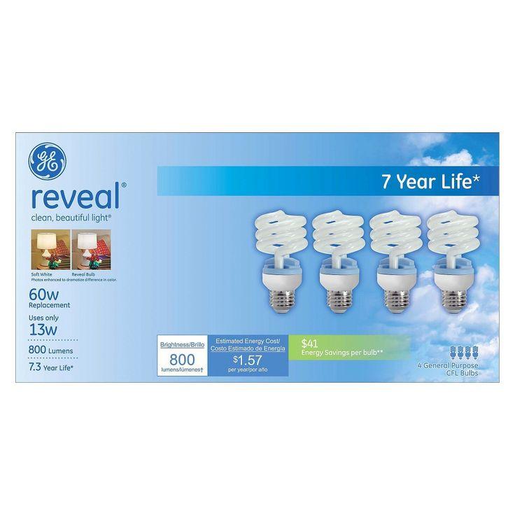 GE Reveal 60-Watt Cfl Light Bulb (4-Pack)