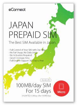 Japan Prepaid SIM - 100MB/day Data SIM (15 Days)