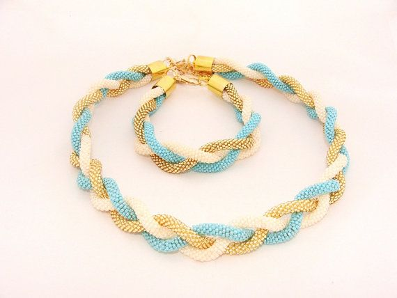 Beaded Crochet Braid Rope Necklace Gold Beige and by IneseLoft, $49.00
