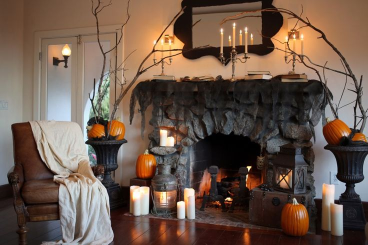 Simple Halloween Decor For The Fireplace Mantel by The Home Depot