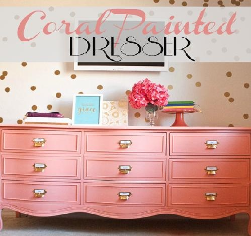 Coral Painted #dresser #diy. Pink painted furniture project.