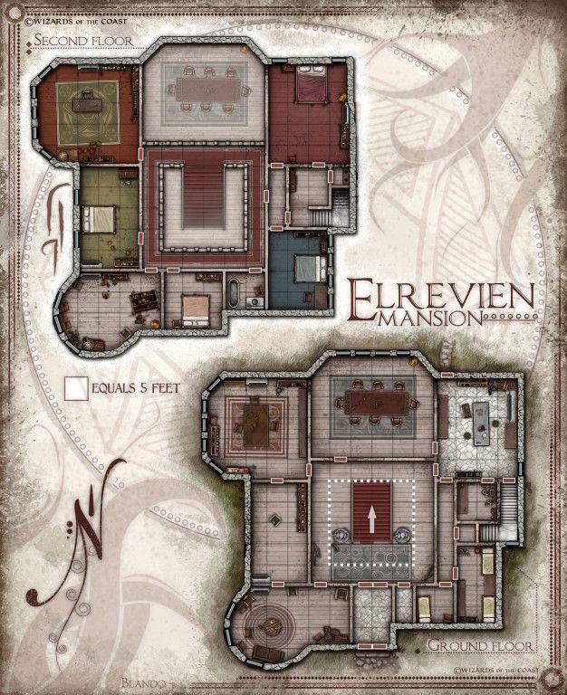 Manor Dnd Map : manor, Elrevien, Mansion, Jared, Blando, Dungeon, Maps,, Fantasy, World