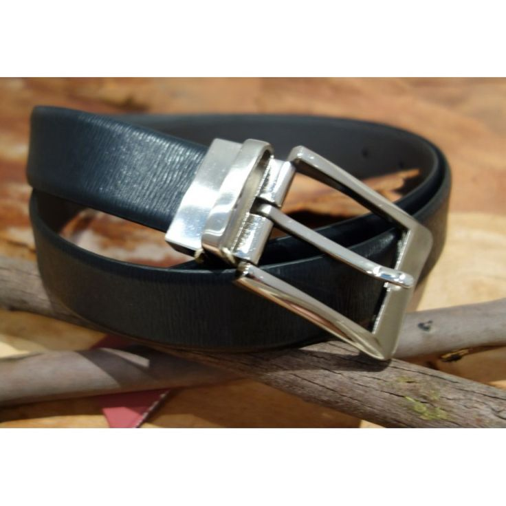 Men's Formal Reversible Black and Grey Stressed Leather Belt Silver Square Buckle