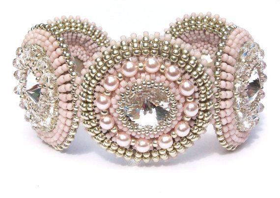 Beaded Bracelet Swarovski Crystals Pearls by vantageJewellery, £125.00