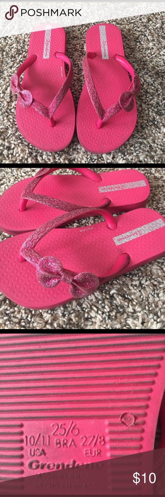 Adorable pink flip flops purchased at Nordstrom GUC.  A lot of life left and cute! size is 10/11 grendene Shoes Sandals & Flip Flops