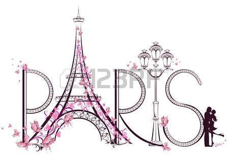 Tower Eiffel Paris mit Schriftzug Darstellung photo